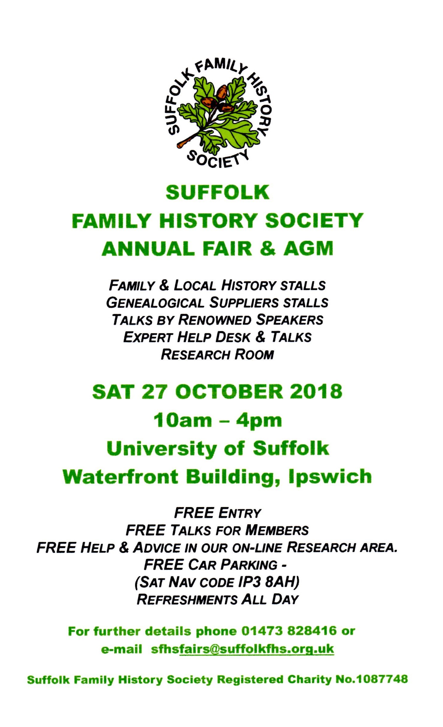 Fair 2018 sfhs suffolk family history society annual family history fair and agm will be held on 27 october 2018 at university of suffolk waterfront building 19 neptune quay publicscrutiny Gallery