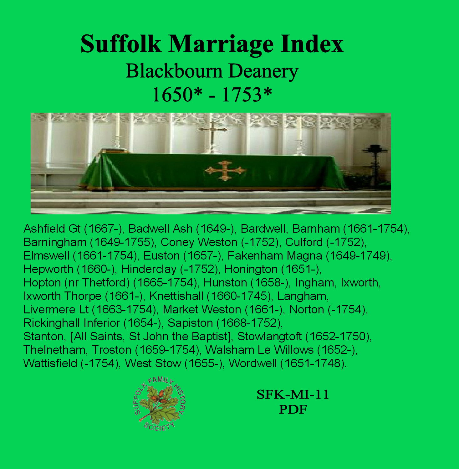 Blackbourn Marriage Index